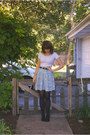 Charlotte-russe-boots-thrifted-belt-thrifted-skirt