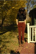 brown combat boots Madden Girl boots - black crop thrifted shirt