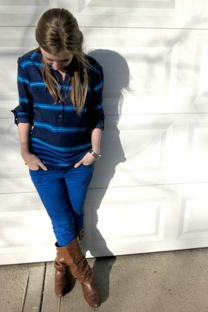 navy stripes Old Navy top - brown cognac Target boots
