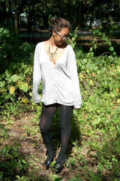 silver cardigan - black Target tights - black Jessica Simpson shoes