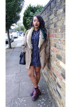 shearling vintage coat - agyness deyn Dr Martens boots - denim warehouse dress
