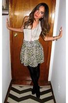 black Christian Louboutin - silver H&M skirt - beige H&M blouse