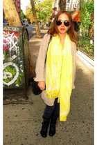 yellow vintage scarf - beige H&M sweater - black vera wang lavender label boots