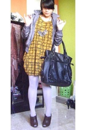 Zara jacket - bloop dress - Sigarasi ShopHop necklace - Topshop purse - unbrande