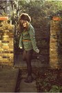Fur-vintage-hat-ecote-jacket-leather-topshop-shorts-topshop-belt-studded