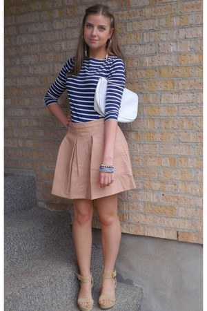 tan Forever21 skirt - navy breton striped Forever21 shirt
