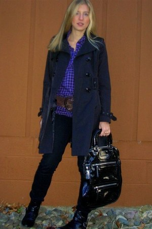 black Jolt jeans - black Miss Sixty coat - dark brown Morgan de Toi belt - purpl