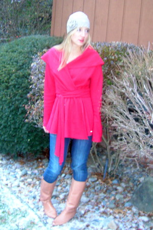 blue Visgoss jeans - red Anthropologie sweater - beige Urban Outfitters boots -