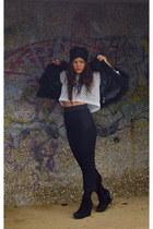 h and m black skirt - vintage top