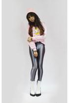 Sheinside sweater - Jeffrey Campbell boots - American Apparel pants