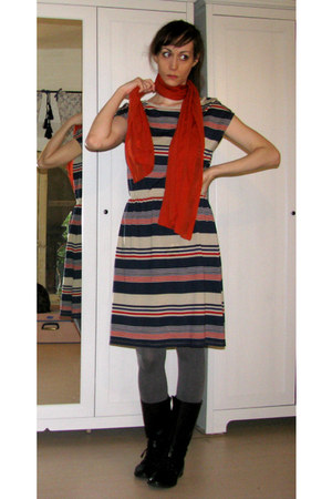 burnt orange scarf - black Zara boots - navy Pimkie dress - heather gray tights