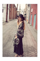 camel boots - black hat - black maxi skirt skirt - heather gray navajo wrap cape