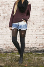 Over-the-knee-forever21-socks-lace-up-vintage-boots-knit-h-m-sweater