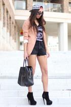 black VJ-style bag - white Topman hat - nude peach salmon H&M blazer