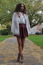 periwinkle lookbookstore coat - dark brown asos boots - white Primark blouse