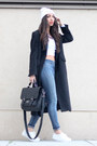 White-h-m-shoes-black-wool-maxi-coat-vintage-coat-blue-river-island-jeans
