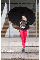 ruby red faux leather pants - black Nelly White Label boots - black H&M hat