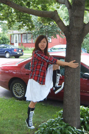 red Gap shirt - white from japan dress - black Converse boots