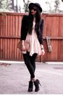 Black-ebay-boots-beige-diy-socks-black-tights-beige-topshop-dress-black