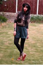 brown vintage shoes - black Ebay leggings - green vintage shorts - brown belt -