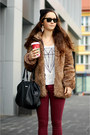 Black-secondhand-boots-light-brown-faux-fur-zara-coat-dark-gray-mango-bag