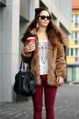 Black-secondhand-boots-light-brown-faux-fur-zara-coat-dark-gray-mango-bag