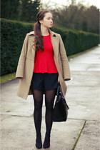 gray studded Zara heels - tan benetton coat - charcoal gray H&M tights