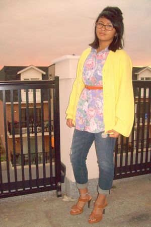 yellow thrifted sweater - purple thrifted shirt - Charlotte Russe jeans - Walmar