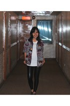 Zara top - vintage jacket - Liquid Leggings - Aldo shoes