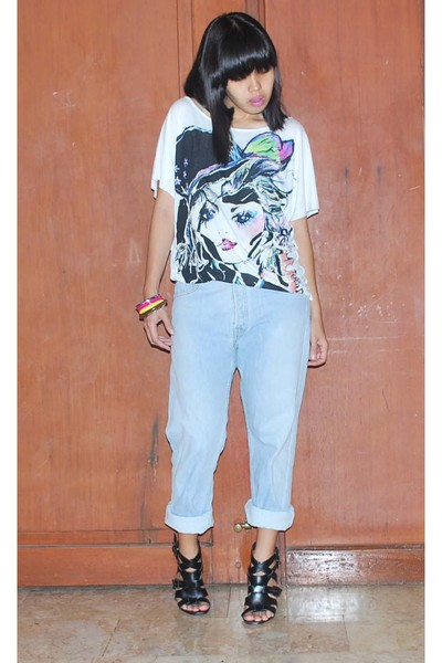 Mango shirt - Levis 501 jeans - Promod colored bangles accessories - f21 shoes