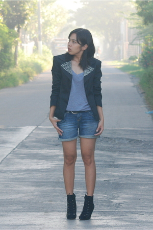 Style District studded blazer - Zara shirt - Mango belt - boots - Zara shorts