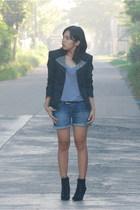 Style District studded blazer - Zara shirt - Mango belt - boots - Zara shorts