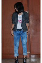 Mango top - Vintage biker jacket - Mango jeans - Trunkshow belt - f21 shoes
