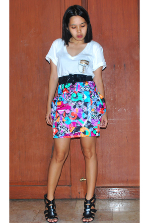 Zara shirt - Zara belt - Poisonberry skirt - f21 shoes