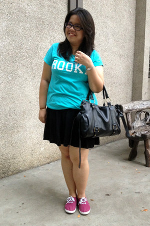 black OASAP bag - aquamarine cotton on shirt - black skater cotton on skirt