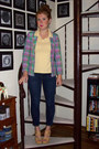 Navy-gap-jeans-hot-pink-vintage-gant-blazer-light-yellow-shirt