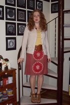 cream J Crew cardigan - mustard Target top - tawny ann taylor belt - ruby red Vi