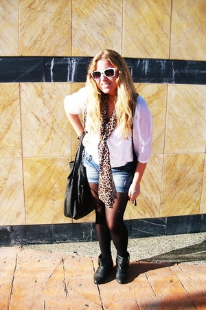 Pull and Bear blouse - Stradivarius scarf - Stradivarius shorts - sunglasses - P