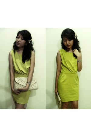 lime green thrifted dress - neutral Primark bag - off white handmade accessories