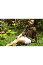 olive green vintage blouse - white gabrieja j shorts - black Isabel Toledo heels