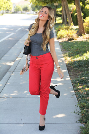 Anthropologie pants - Chanel bag - Charles David heels