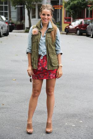 Old Navy vest - banana republic heels - Forever 21 skirt - Target top