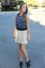 Bcbg-top-zara-skirt-forever-21-necklace-michael-kors-heels