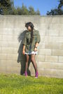 Green-jacket-blue-merona-dress-black-dkny-tights-purple-socks-gold-shoes