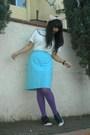 White-t-shirt-blue-nina-ricci-skirt-purple-dkny-tights-black-madden-girl-s