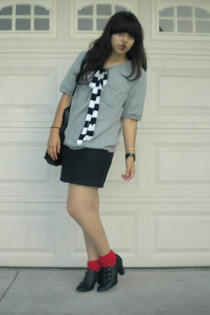 J Crew sweater - dress - thrifted socks - Target-Xhiliration shoes