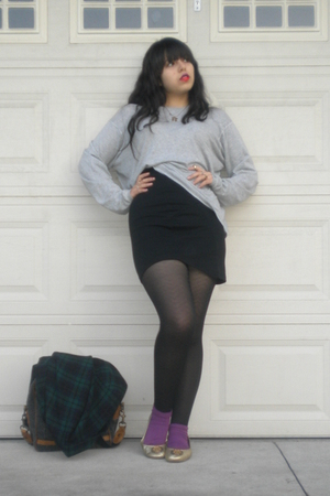 gray Rubish sweater - black skirt - black DKNY tights - purple skirt - gold gift
