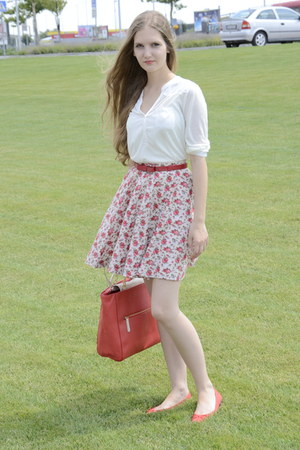 red Zara bag - red handmade skirt - ivory H&M blouse