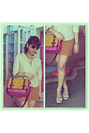 hot pink ostrich skin tonic bag - light pink Melissa shoes