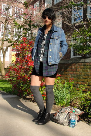 Urban Outfitters t-shirt - UO boots - thrifted jacket - vintage shirt - UO socks